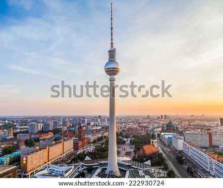 Berlin city view with TV tower in the centre, Germany - stock photo
