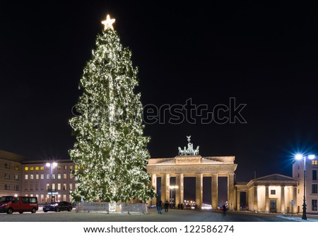 BERLIN - DECEMBER 13: Brandenburg Gate and the Christmas tree, December 13, 2012 in Berlin, Germany. Brandenburg Gate - the symbol of Germany.
