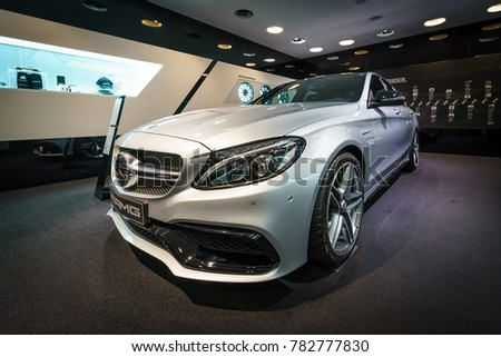 BERLIN - DECEMBER 21, 2017: Showroom. Mid-size car Mercedes-Benz C-Class AMG C63 (W205). Since 2015.