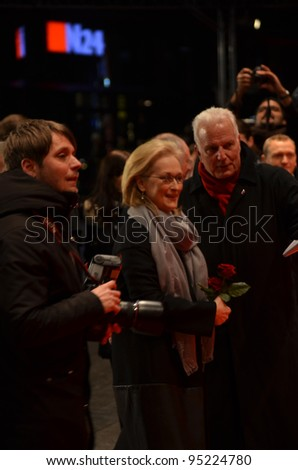 BERLIN - FEB 14: Meryl Streep arrives for the screening of Iron Lady at Berlin Film Festival Feb 14, 2012, Berlin, Germany - stock photo