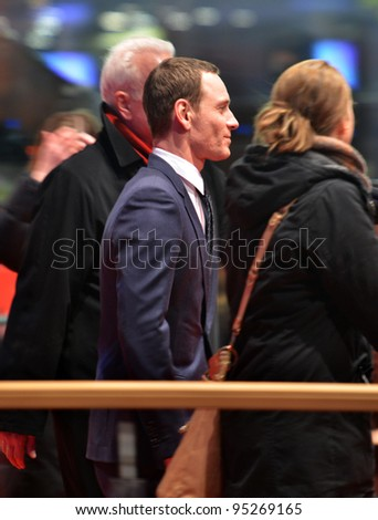 BERLIN - FEB 15: Michael Fassbender arrives for the screening of Haywire at Berlin Film Festival Feb 15, 2012, Berlin, Germany - stock photo