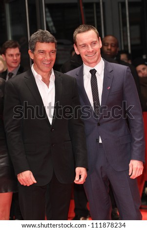 BERLIN - FEBRUARY 15: Antonio Banderas and Michael Fassbender attend the 'Haywire' Premiere at the 62nd Berlin Film Festival at the Berlinale Palast on February 15, 2012 in Berlin, Germany.