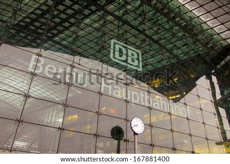 Berlin-February 19, 2013 : Architectural details of the Central Station
