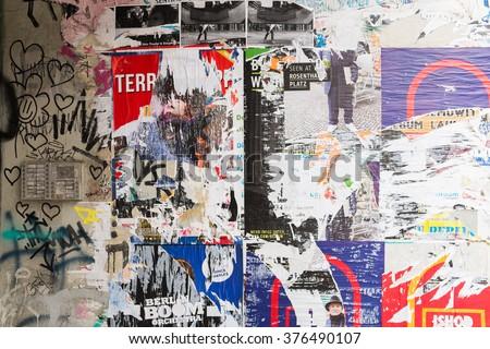 berlin february 11 posters in a building entrance wall in berlin mitte near rosenthaler