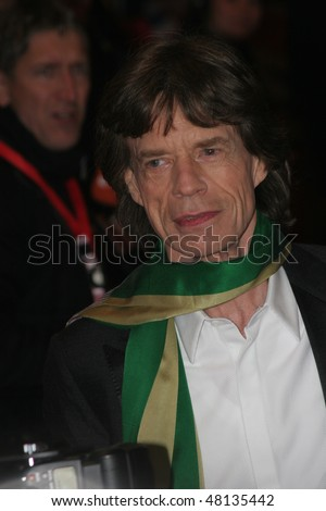 BERLIN - FEBRUARY 7: Rolling Stones singer Mick Jagger attends the 'Shine A Light' Premiere as part of the 58th Berlinale Film Festival at the Berlinale Palast on February 7, 2008 in Berlin, Germany - stock photo