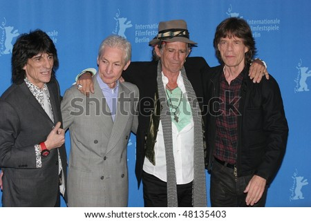 BERLIN - FEBRUARY 7: Rolling Stones singer Mick Jagger,  Keith Richards pose  at the 'Shine A Light' Photocall as part of the 58th Berlinale Film Festival  on February 7, 2008 in Berlin, Germany - stock photo
