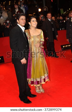 BERLIN - FEBRUARY 12:   Shahrukh Khan  and Kajol Devgan attend the 'My Name Is Khan' Premiere during day two of the 60th Berlin Film Festival at the Palast on February 12, 2010 in Berlin, Germany - stock photo