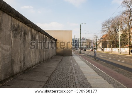 BERLIN, FEBRUARY 28: Wall Memorial in the Bernauerstrasse in Berlin on February 28, 2016. The Berlin Wall Memorial is the German division central memorial site.