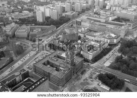 Berlin from Fernsehturm. TV tower - stock photo