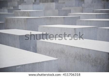 BERLIN, GERMANY - APR 19, 2016 : view of Jewish Holocaust Memorial Monument - stock photo