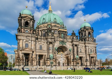 BERLIN, GERMANY - APRIL 20, 2016: Berlin Cathedral (Berliner Dom) - famous landmark on the Museum Island in Mitte district of Berlin. It was built between 1895 and 1905. - stock photo