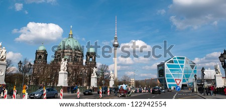 BERLIN, GERMANY - APRIL 14: Berliner Dom and Humboldt Box in Berlin on April 14, 2012. Temple consecrated at 1454 as Roman Catholic St. Erasmus Chapel. Humboldt Box is a futuristic museum structure