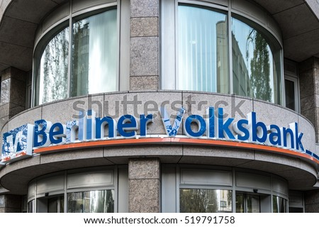 Berlin, Germany - April 26, 2016: Berliner Volksbank branch. Berliner Volksbank eG based in Berlin is one of the largest co-operative banks in Germany. Its historical roots reach back to the year 1858