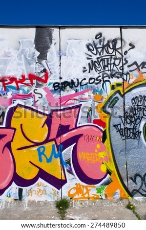 BERLIN, GERMANY - 30 April 2015: Graffiti on the Berliner Mauer, Friedrichshain. Berlin on April 30, 2015. Berlin, Germany - stock photo