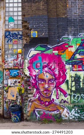 BERLIN, GERMANY - 30 April 2015: Graffiti Warschauer Strasse, Friedrichshain, Berlinl. Berlin on April 30, 2015. Berlin, Germany