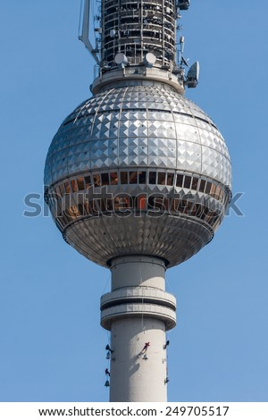 BERLIN, GERMANY - APRIL 12: Look to the Berlin TV Tower in Berlin on April 12, 2009. Close to Alexanderplatz in Berlin, the tower was constructed between 1965 and 1969.