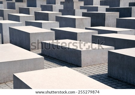 BERLIN, GERMANY - APRIL 30, 2014: Memorial to the Murdered Jews of Europe (also known as Holocaust Mahnmal) on April 30, 2014 in Berlin, Germany - stock photo