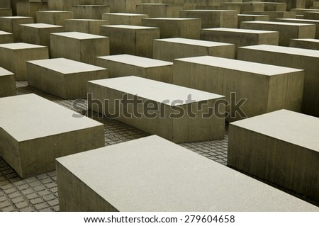 BERLIN, GERMANY - 30 April 2015: Memorial to the Murdered Jews of Europe, Berlin on April 30, 2015. Berlin, Germany - stock photo