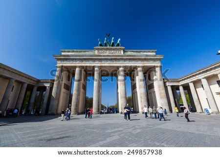 BERLIN, GERMANY - APRIL 10: The Brandenburg Gate, landmark of Germany at day on April 10, 2009. It is located in the western part of the city centre of Berlin.