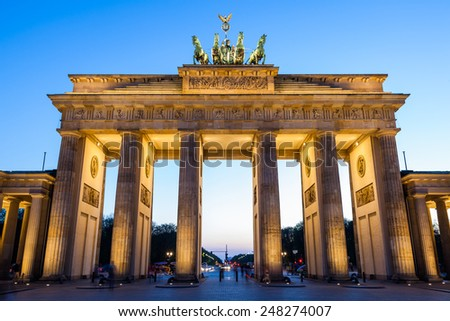 BERLIN, GERMANY - APRIL 11: The Brandenburg Gate, landmark of Germany at sunset on April 11, 2009. It is located in the western part of the city centre of Berlin.