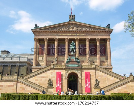 BERLIN, GERMANY - APRIL 24, 2010: The Museumsinsel is a complex of five museums, Altes museum (Old museum), Neues museum (New museum), Alte Nationalgalerie (Old National Gallery), Bode, Pergamon