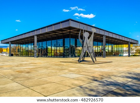 BERLIN, GERMANY - APRIL 23, 2010: The Neue Nationalgalerie art gallery is a masterpiece of modern architecture designed by Mies Van Der Rohe in 1968 as part of the Kulturforum (HDR)