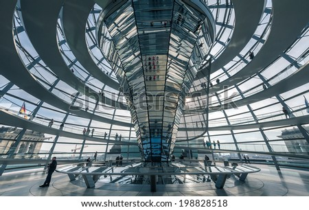 BERLIN, GERMANY - April 17 : View of Reichstag dome on April 17, 2013 in Berlin, Germany. The Reichstag dome is a glass dome constructed on top of the rebuilt Reichstag building.