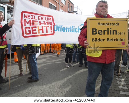 Berlin, Germany - April 27, 2016: warning the Union Verdi on the grounds of the Berlin City cleaning BSR with workers of the Berlin water companies, Vattenfall and the Berlin bath establishments.