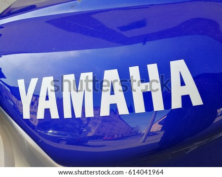 Berlin, Germany - April 1, 2017: Yamaha logo. Yamaha Motor Company is a Japanese manufacturer of motorcycles, marine products such as boats and outboard motors and other motorized products