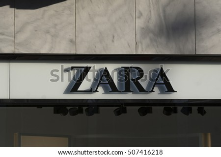 Berlin, Germany - April 26, 2016: Zara logo. This textile company, through its network of stores and online, sells worldwide low-priced clothing, accessories and footwear for men, women and children