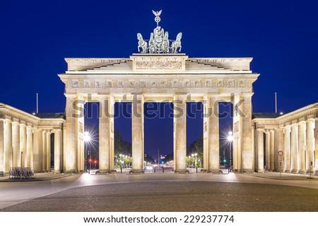 Berlin, Germany at Brandenburg Gate. - stock photo