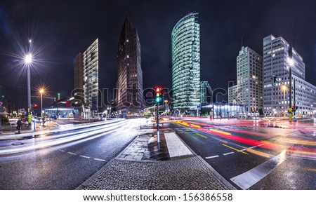 Berlin, Germany at Potsdamer Platz financial district. - stock photo