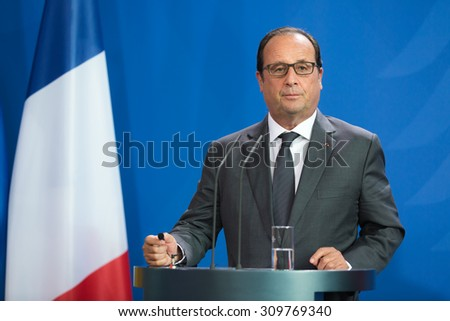 BERLIN, GERMANY - Aug 24, 2015: French President Francois Hollande during his meeting with German Chancellor Angela Merkel and the President of Ukraine Petro Poroshenko - stock photo
