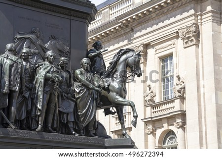 BERLIN, GERMANY - AUGUST 13, 2016: Base of the equestrian statue of Frederick the Great is an outdoor sculpture in cast bronze in Berlin, honoring King Frederick II of Prussia.