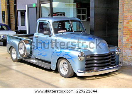 BERLIN, GERMANY - AUGUST 12, 2014: Classic american pickup truck Chevrolet Advance Design in the museum of vintage cars Classic Remise. - stock photo