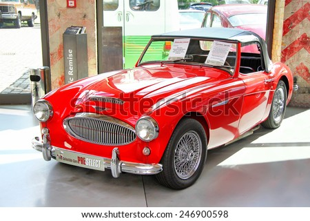 BERLIN, GERMANY - AUGUST 12, 2014: Classic british sports car Austin-Healey 3000 Mk II in the museum of vintage cars Classic Remise. - stock photo