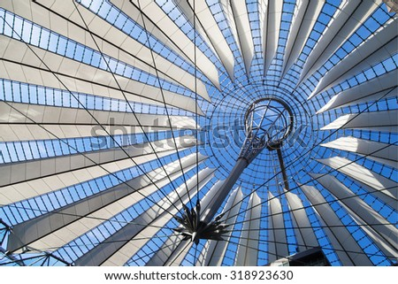 BERLIN, GERMANY - AUGUST 5: Dome of the Sony Center on August 5, 2015 in Berlin, Germany. It was designed by Helmut Jahn and Peter Walker between 1998 and 2000.