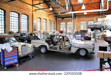 BERLIN, GERMANY - AUGUST 12, 2014: German classic cars Mercedes-Benz in the workshop of the museum of vintage cars Classic Remise. - stock photo