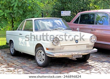 BERLIN, GERMANY - AUGUST 12, 2014: German retro car BMW 700 Coupe near the museum of vintage cars Classic Remise.