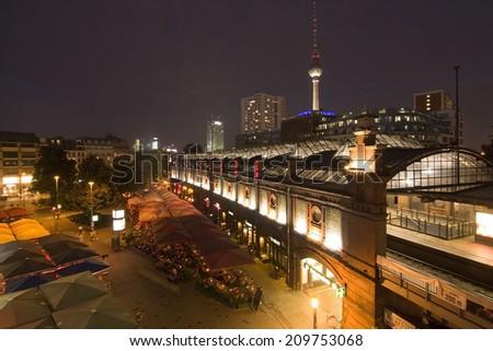 BERLIN, GERMANY - AUGUST 7: Hackescher markt August 7, 2014 in Berlin, Germany - stock photo