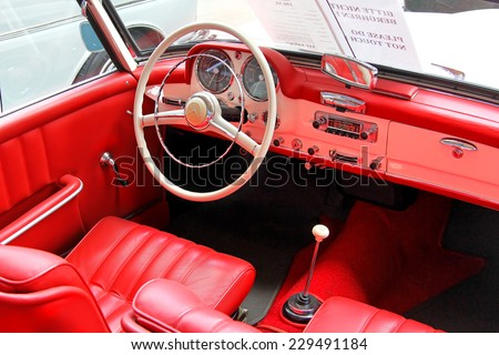 BERLIN, GERMANY - AUGUST 12, 2014: Interior of the german classic vehicle Mercedes-Benz 190SL in the museum of vintage cars Classic Remise. - stock photo