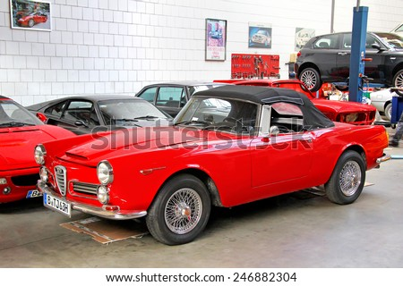 BERLIN, GERMANY - AUGUST 12, 2014: Italian retro car Alfa Romeo 2600 in the museum of vintage cars Classic Remise. - stock photo
