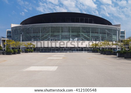 Berlin, Germany - August 8, 2015: Mercedes-Benz Arena, formerly O2 World Arena, in Berlin, Germany. It is the site of the 2016 Euroleague Final Four.