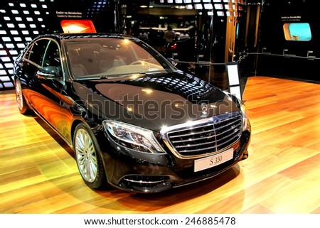 BERLIN, GERMANY - AUGUST 16, 2014: Modern german premium class sedan Mercedes-Benz W222 S350 in the Mercedes-Benz showroom. - stock photo