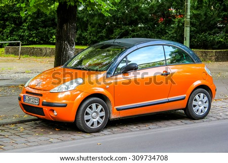 BERLIN, GERMANY - AUGUST 15, 2014: Motor car Citroen C3 Pluriel at the city street.