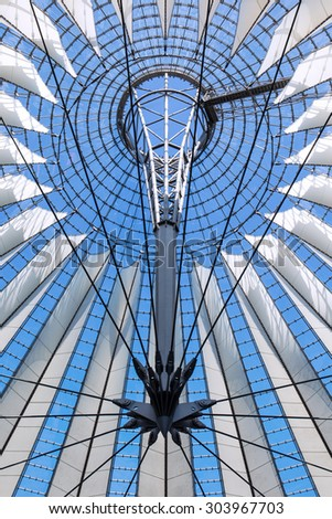 Berlin, Germany - August 02, 2015. Roof construction in the Sony Center at Potsdamer Platz in Berlin. The Sony Center is a complex at Potsdamer Platz with offices, cafes, restaurants, movie theaters.
