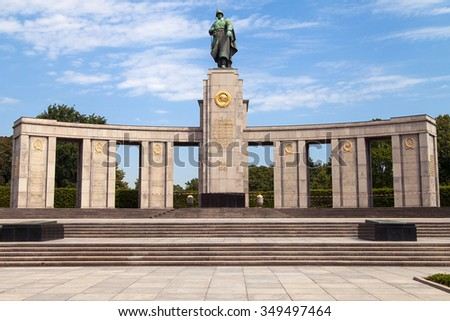 Berlin, Germany - August 7, 2015: Soviet War Memorial in the Tiergarten, Berlin, Germany. It is a memorial erected by the Soviet Union to commemorate its war dead during the Battle of Berlin in 1945. - stock photo