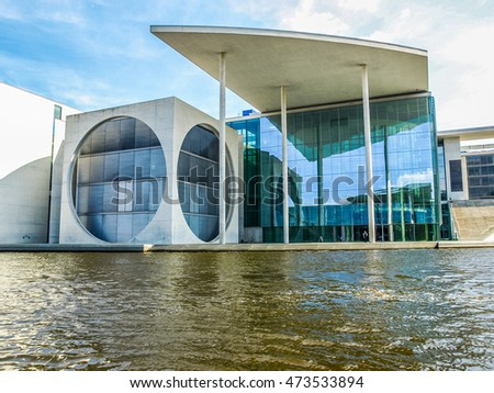BERLIN, GERMANY - AUGUST 08, 2009: The Band des Bundes complex of government buildings on the banks of Spree River in Tiergarten near the Reichstag (German parliament)  (HDR)