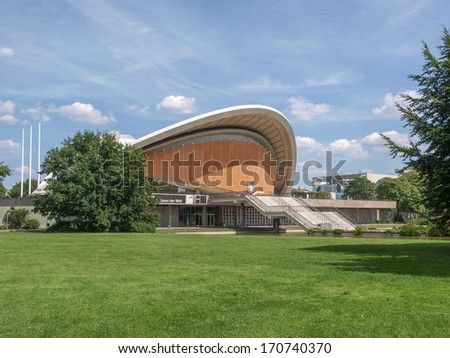 BERLIN, GERMANY - AUGUST 8, 2009: The Haus der Kulturen der Welt (House of the Cultures of the World) is a major exhibition hall in Tiergarten park designed in 1957 by American architect Hugh Stubbins
