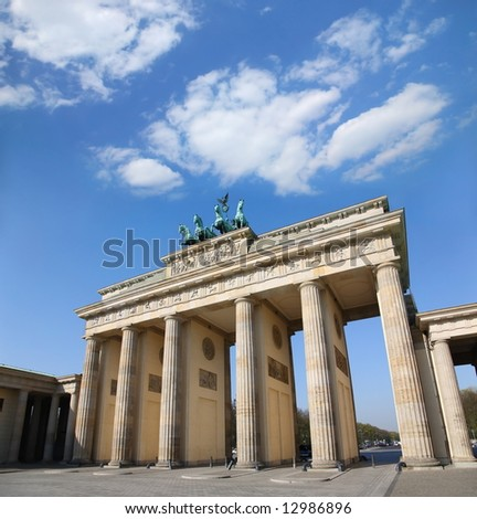 Berlin, Germany. Branderburger Tor with beautiful  blue cloudscape